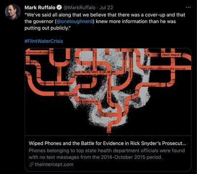 Mark Ruffalo tweets out bombshell Flint water crisis investigative report by Jordan Chariton and Jenn Dize.