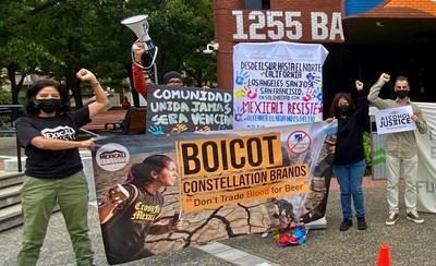 Protestors outside Constellation Brand headquarters, San Francisco.