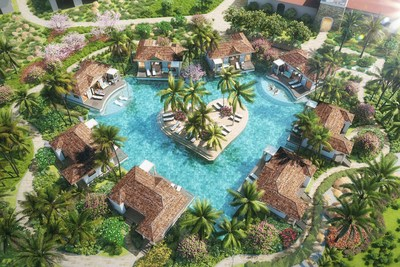 Kurason Island Poolside Butler Bungalow Suites, arranged in Sandals' iconic heart formation, overlooking the exclusive heart-shaped pool and lush private island garden.