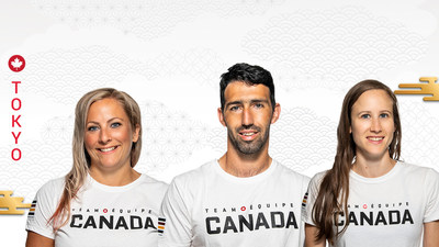 Canada's Para canoe team for the Tokyo 2020 Paralympic Games: Brianna Hennessy, Mathieu St-Pierre, and Andrea Nelson (CNW Group/Canadian Paralympic Committee (Sponsorships))