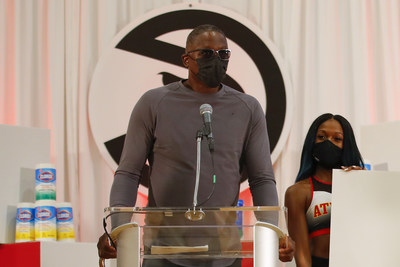 Naismith Memorial Basketball Hall of Famer/Atlanta Hawks legend Dominique Wilkins helps announce the Clorox brand's donations to support teachers at the start of the school year, including $1,000,000 to DonorsChoose as well as $100,000 to Atlanta Public Schools, during a surprise pep rally at Emma Hutchinson Elementary School in Atlanta, Ga. on Wednesday, Sept. 8, 2021.